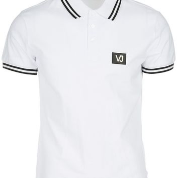 VERSACE JEANS MEN'S SHORT SLEEVE T-SHIRT POLO COLLAR NEW WHITE CEC