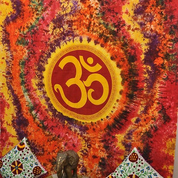 Indian God Om Tapestries Bohemian Tapestry Bed Cover wall hanging Hippy Hippie tapestry tie-die tapestry Drom tapestry indian Art