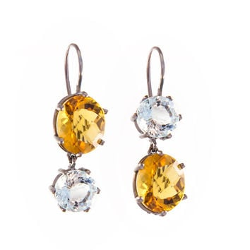 Citrine and Aquamarine Statement Earrings