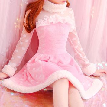 Autumn Women Sweet Japanese Princess Cute Lace long sleeve Slim Winter Flannel dress Heart Print Soft Sister Young Girl Vestidos