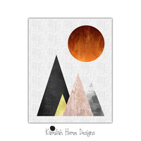 Geometric Wall Art, Red Black Gray Yellow Triangles, Geometric Art, Marble Pattern, Scandinavian Wall Art Decor, Printable Geometric Art
