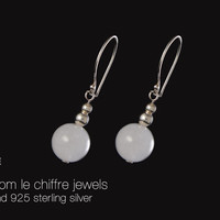 Emily white quartz silver earrings