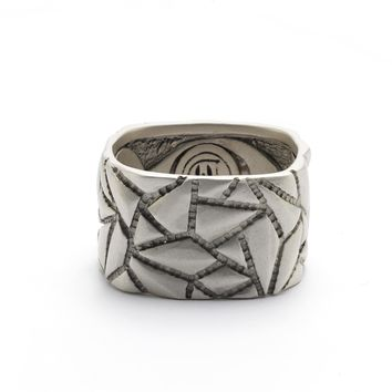 Sandblasted Stone Texture Square Band Ring