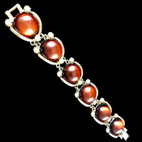 Wide Amber Bracelet Seed Pearls Chunky
