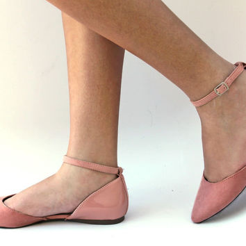 New Womens BDo1 Blush Pink Ankle Strap Pointed Toe Ballet Flats sz 6 to 11
