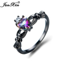 JUNXIN Female Mystery Rainbow Heart Ring Romantic Claddagh Ring Black Gold Filled Jewelry Promise Engagement Rings For Women
