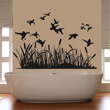 Ducks and Wetland Silhouette Vinyl Wall Decal Sticker Graphic