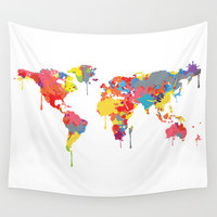 World Map Wall Tapestry by ArtisanObscure Prints