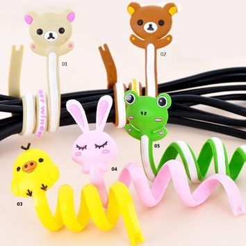 5pcs Newest Cute Cartoon animal cable winder Wire Holder tie-line Wrapped Device BOBO