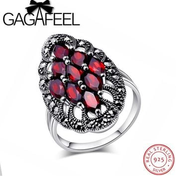 GAGAFEEL Wedding Ring Sterling-Silver-Jewelry For Women Garnet Stone Luxury Rings Brand Engagement Accessory Hot Dropshipping