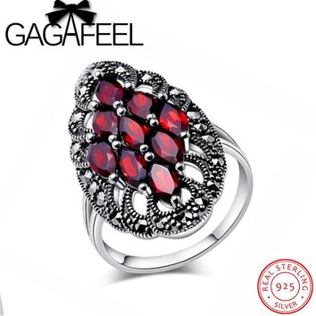 Victorian Ring Sterling-Silver-Jewelry Garnet Stone Luxury Gothic Rings