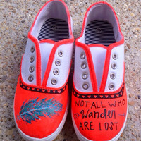 Hand painted shoes. Not all who wander are lost.