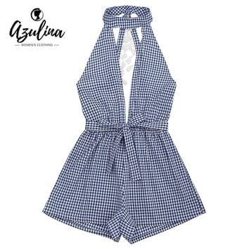 AZULINA Elegant Black and White Plaid Romper Jumpsuit Women Sexy Backless Cut Out Tassels Checked Rompers Playsuit 2017 Overalls