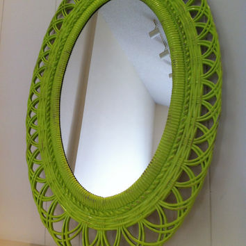 Mirror Chippy Distressed Lime Vintage Mirror Upcycled by FeFiFoFun