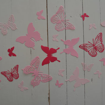 3D Butterflies made of textured card stock in 3 Shades of Pink --- Let them fly around in your nursery or dress up your party