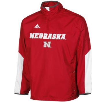 adidas Nebraska Cornhuskers Youth Quarter Zip Hot Jacket - Scarlet - http://www.shareasale.com/m-pr.cfm?merchantID=7124&userID=1042934&productID=526698063 / Nebraska Cornhuskers
