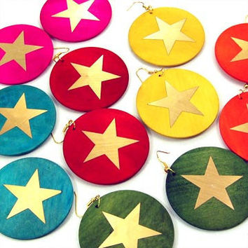 Circle Wood Star Earrings