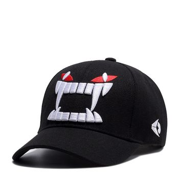 Trendy Winter Jacket Wuke Devil Teeth Embroidery Sports Outdoors Cap Hip Hop Casquette Fashion Baseball Cap Gorras Fitted Snapback Hat for Men Women AT_92_12