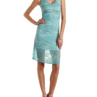 Mint Caged-Back Mixed Lace Midi Dress by Charlotte Russe