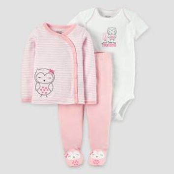 Baby Girls' 3pc Owl Side Snap T-Shirt Layette Set - Just One You™ Made by Carter's® Pink