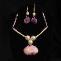 Seashell and Pearl Necklace and Earring Set, Purple Seashell Necklace, Pearl Necklace and Earrings