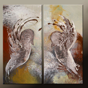 Abstract Canvas Art Painting Huge 2pc 36x36 Original Contemporary Bird Painting by Destiny Womack - dWo -  Soul Mates