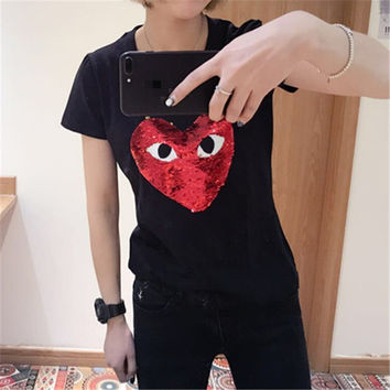 2017 Fashion Female t shirts Short Sleeve T-shirts Plus Size Eye Embroidery Heart Sequined tshirt O-neck Women Tops 72527