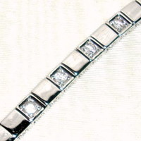 Silver Tone Squares Bracelet With 4 CZ's-Looks SO Real! Brand New