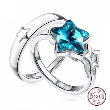 Real 925 Sterling Silver Couple Rings With Star Shape AAA Blue Zircon Lover's Wedding Band Women Men Jewelry