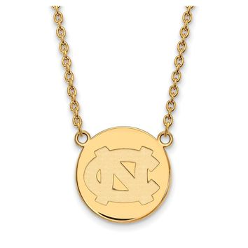 NCAA 14k Gold Plated Silver North Carolina Lg Disc Necklace