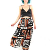 80s Abstract Print Maxi Skirt African Print Button Down Front Skirt Hippie Boho Festival High Waisted Skirt Muted Floral Black Pockets  (L)