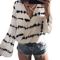 Loose Long Sleeve Bandage Blouse