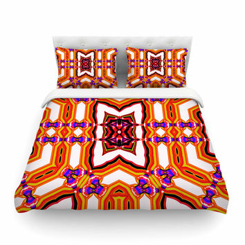 "Dawid Roc ""Inspired By Psychedelic Art 4"" Orange Abstract Featherweight Duvet Cover"