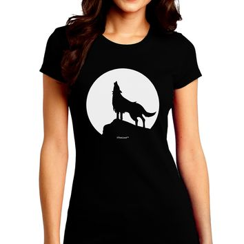 Wolf Howling at the Moon - Design #1 Juniors Crew Dark T-Shirt by TooLoud