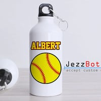 Personalized Softball Baseball Sport Ball - Bottle Sport - Custom Water Bottle -  Club Bottle Sport - Include Name
