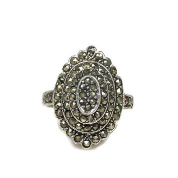 Sterling Silver Tiered Marcasite Ring Size 7