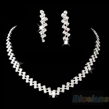 Bridal Wedding Prom Jewelry Crystal Rhinestone Diamante Necklace & Earring Set = 1932179524