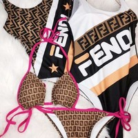 Fendi New fashion letter print contrast color vest one piece bikini and straps two piece swimsuit