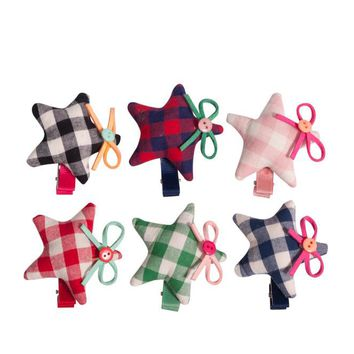 Plaid Star Hair Clips by Little Pink