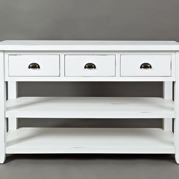 3 Drawers And 2 Open Shelf Sofa Table, Weathered White