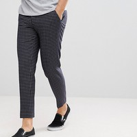 ASOS Skinny Crop Smart Pants In Navy Grid Check at asos.com