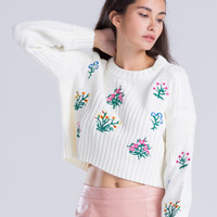 White Flower Knitted Cropped Sweater