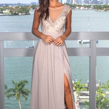 Gray Maxi Dress with Crochet Top and Tulle Back