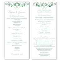 Wedding Program Template DIY Editable Word File Instant Download Program Green Wedding Program Silver Program Printable Program 4x9.25inch