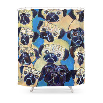 Society6 Pug Party Shower Curtain