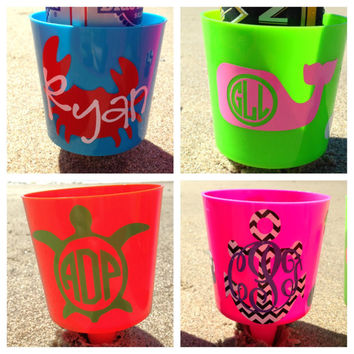 Monogrammed Spiked Beach Cup Holder - Fits Cups Cans Tumblers - Bright and Fun Beach Accessory