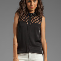 Milly Gumball Dot Lace Natalia Leather Collar Top in Black from REVOLVEclothing.com