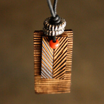 Wood Burned Chevron Necklace Red beads by DecayAndRenewal on Etsy