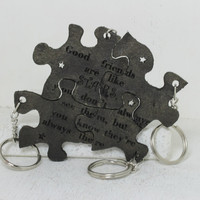 Friendship Set of 4 Best Friend Key chains Linking pieces Light Green painted leather Good Friends are like stars