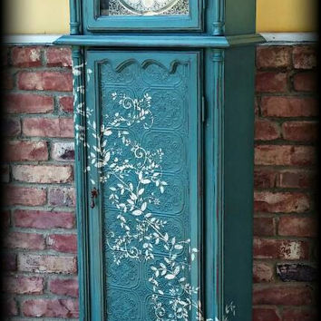 Shabby chic grandfather clock, Distressed grandfather clock, shabby chic clock, rustic grandfather clock, painted grandfather clock, clock
